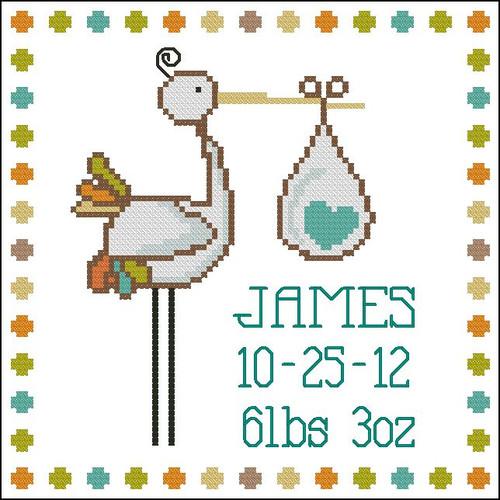Stork Baby Announcement Boy