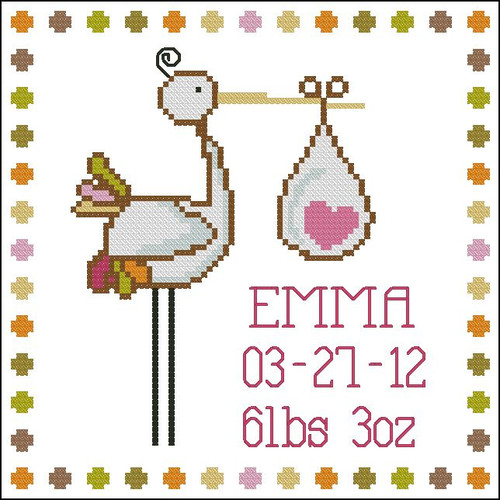 Stork Baby Announcement Girl
