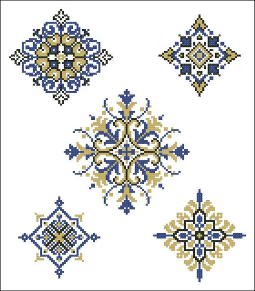 Geometric Medallions Blue Gold