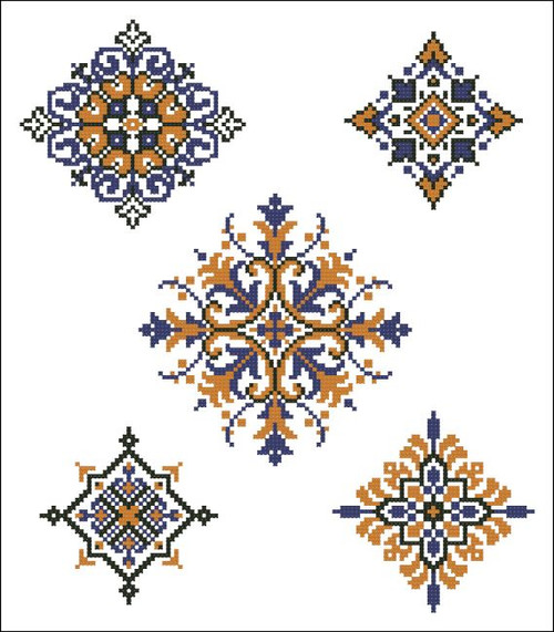 Geometric Medallions Blue Orange
