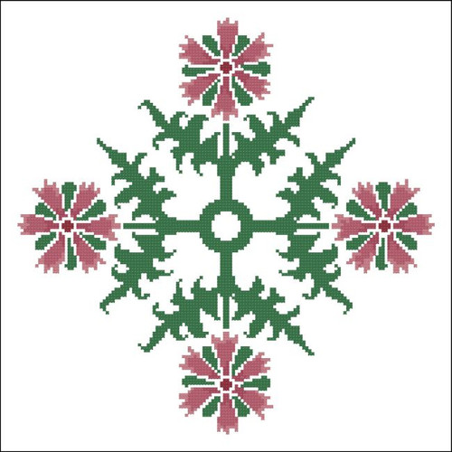 Floral Ornamental #059 Berry Red and Green