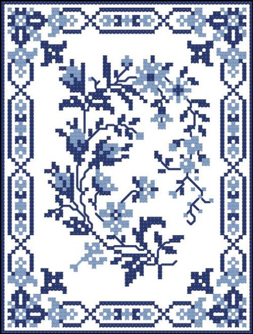 Vintage Blue Flower Buds
