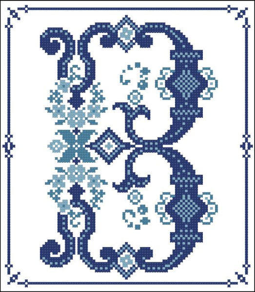 Decorative Blue Alphabet B