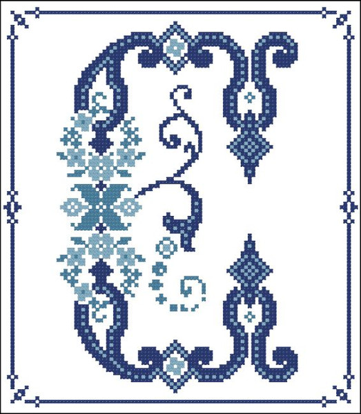 Decorative Blue Alphabet C