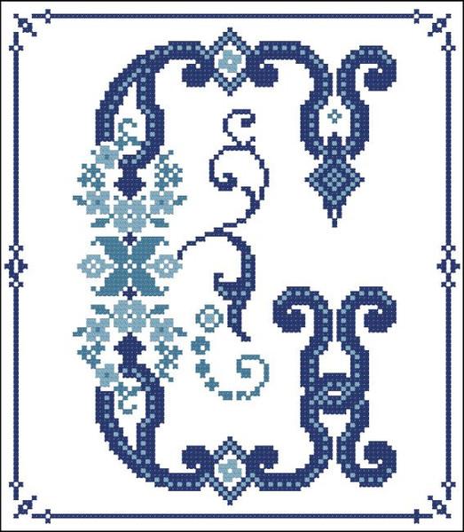 Decorative Blue Alphabet G