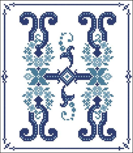 Decorative Blue Alphabet H