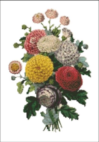 Chrysanthemum Flower Cross Stitch Pattern