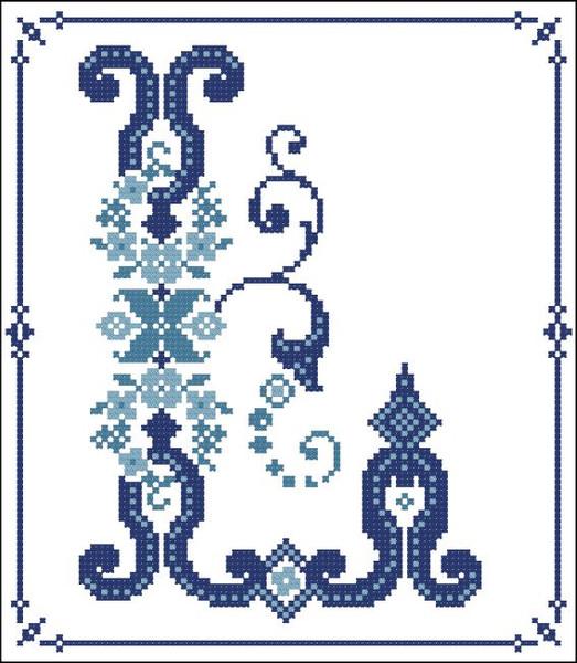 Decorative Blue Alphabet L