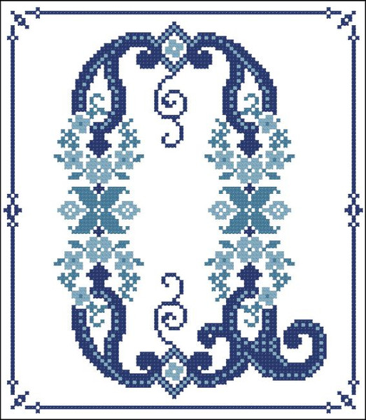 Decorative Blue Alphabet Q