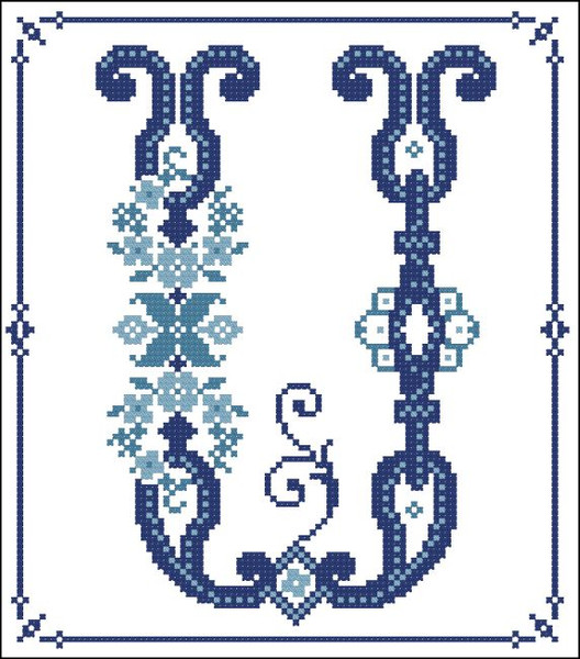 Decorative Blue Alphabet U