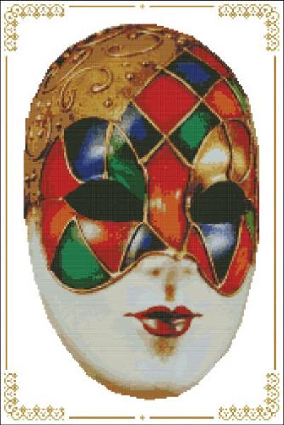 Carnival Masks - 001 Red Blue Left