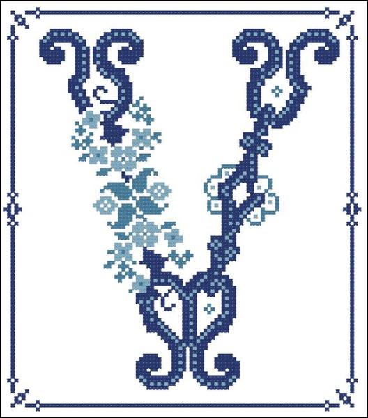 Decorative Blue Alphabet V