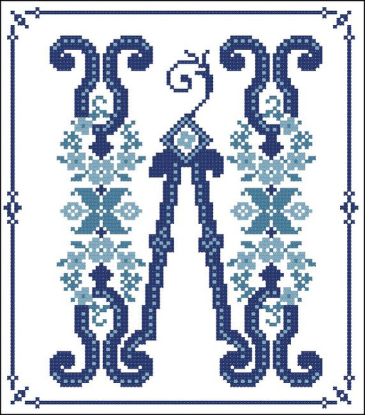 Decorative Blue Alphabet W