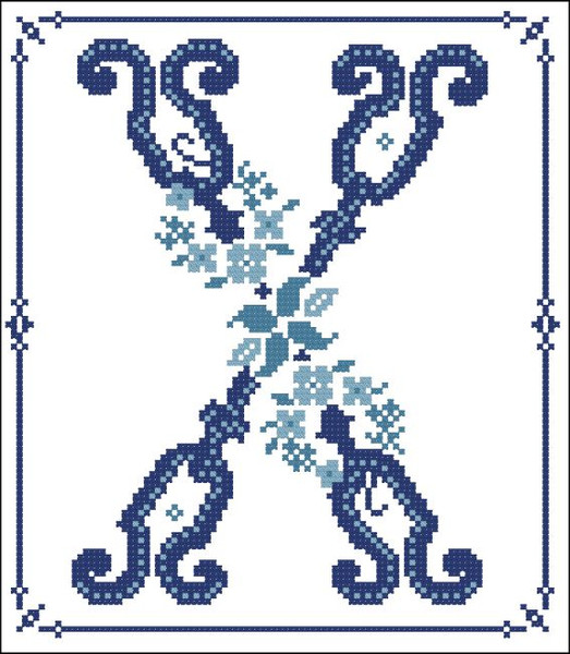 Decorative Blue Alphabet X