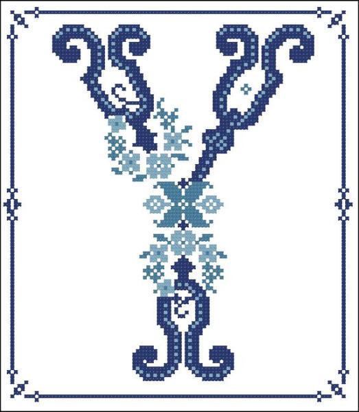 Decorative Blue Alphabet Y