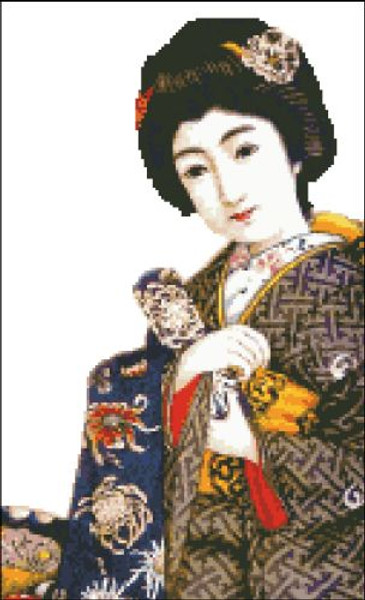 Japanese in a Blue Kimono