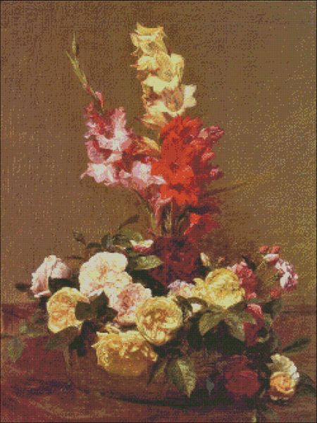 Gladiolas and Roses