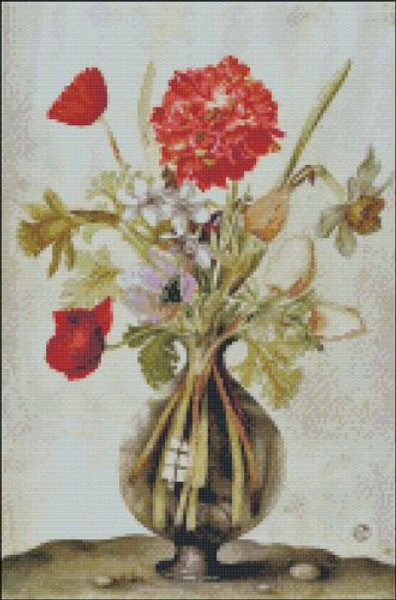 Carnations in a Glass Vase