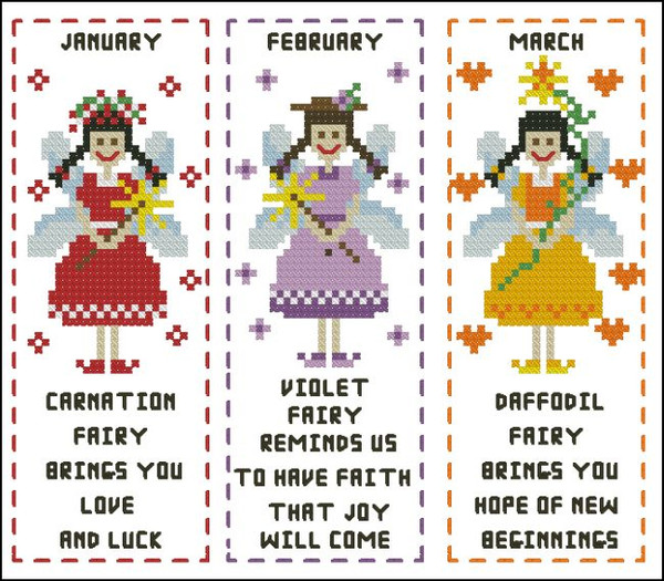 Flower Fairy Bookmark January to March