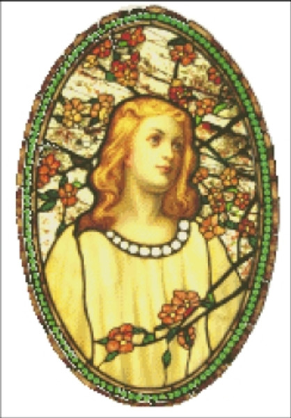 Girl with Cherry Blossoms Stained Glass