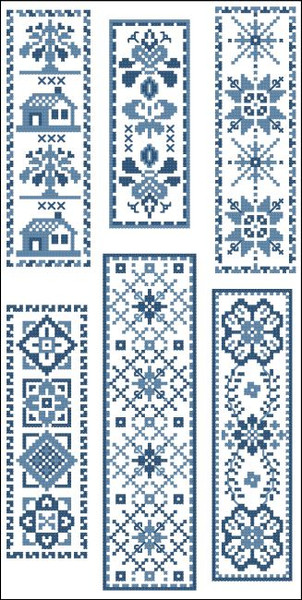 Victorian Bookmarks Blue Collection 2