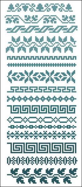 Border Motifs 003 (Leaves & Geometric)