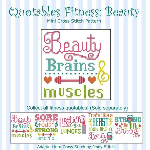 Quotables Fitness Beauty Sports Cross Stitch Pattern