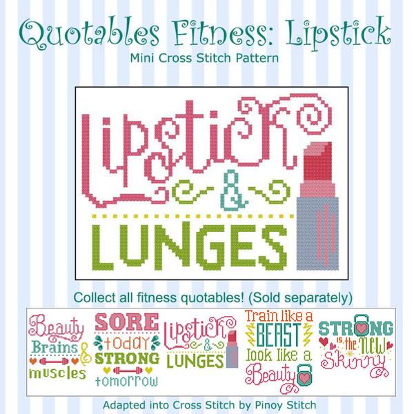 Quotables Fitness Lipstick Sports Cross Stitch Pattern
