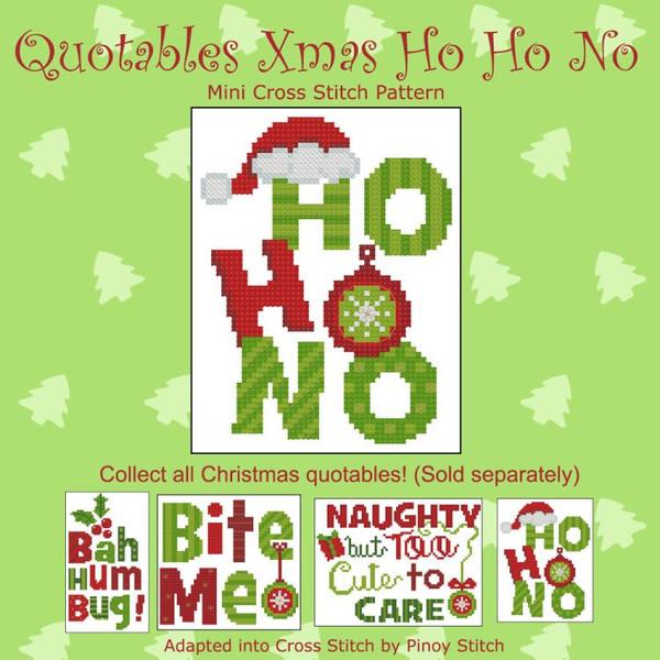 Quotables Christmas Ho Ho No Cross Stitch Pattern