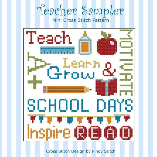Teacher Cross Stitch Pattern Sampler