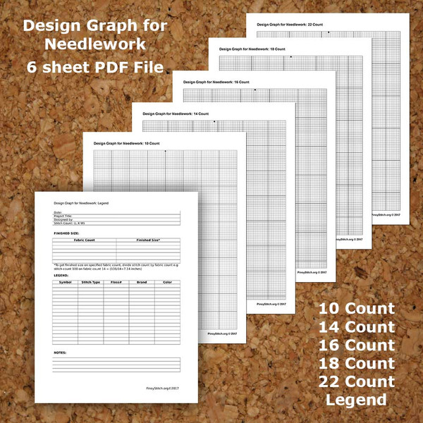 Cross Stitch Graph Paper Needlework Grid template PDF Instant Download 10 to 22 Count Fabric Template Grid