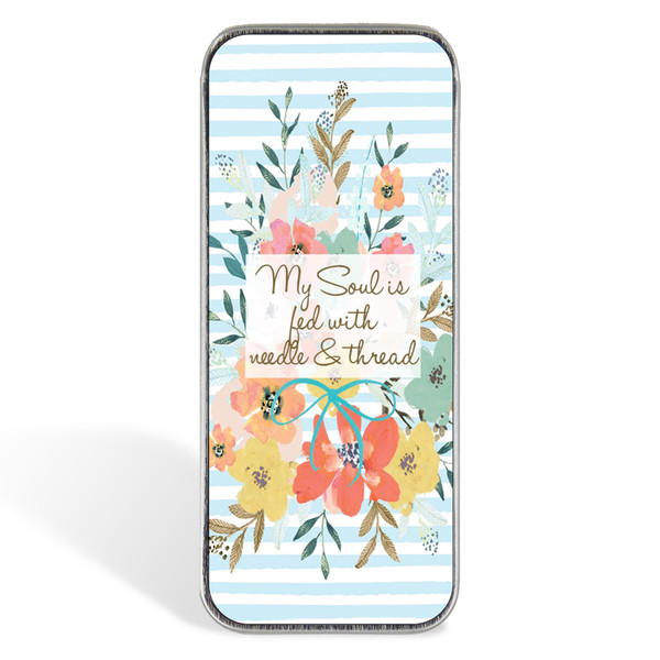 Magnetic Sewing Needle Case Quotes My Soul is Fed with Needle and Thread
