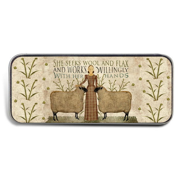 Magnetic Sewing Needle Case Quotes Americana She Seeks Wool