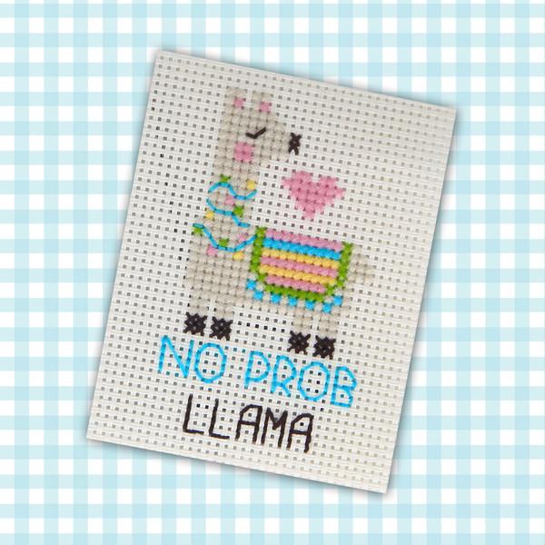 No Prob Llama Mini Cross Stitch Pattern