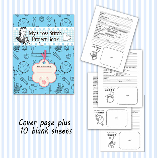 Cross Stitch Project Book Journal Stitching Embroidery Detail Sheet Printable PDF Downloadable File