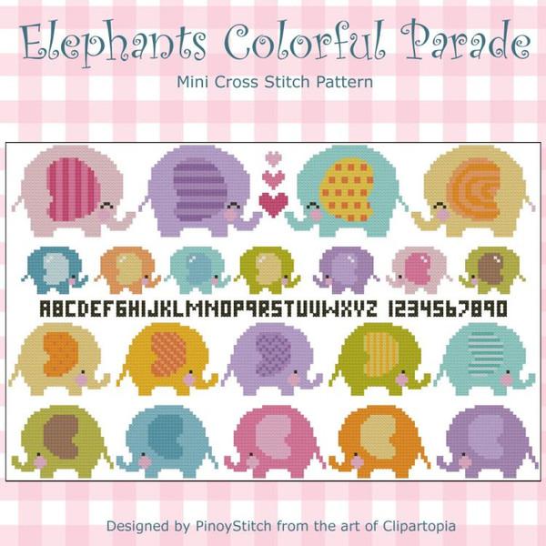 Elephants Colorful Parade