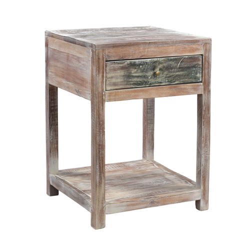 1-Drawer Stripped Teak Side Table