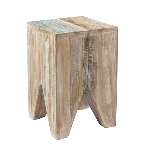 Geometric Stripped Wood Stool