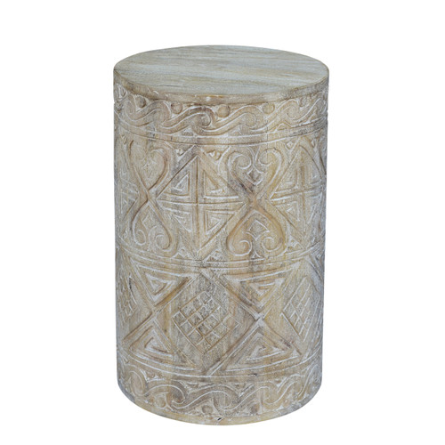 Wooden Carving Round Side Table - Small