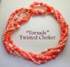 Kenneth J. Lane KJL for Avon Undersea Necklace & Earrings Torsade Coral Rhinestone Sea Shell Vintage 1980s Totally 80s Designer Fashion Jewelry Gift