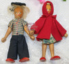 Wood Peg Boy & Girl Toy Doll from Poland Vintage Mid Century 1950s Polish Designer Folk Art Gift