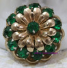 Barclay Emerald Green Rhinestone Brooch Vintage Mid Century 1940s Designer Fashion Jewelry Gift