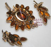 Juliana Topaz Rhinestone Leaf Brooch & Earrings Vintage D&E Delizza Elster Mid Century 1960s Designer Fashion Jewelry Gift