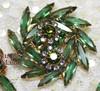 Juliana Emerald Green Rhinestone Brooch & Earrings Vintage D&E Delizza Elster Mid Century 1950s Designer Fashion Jewelry Gift