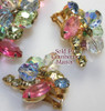 Juliana Pink Rhinestone Crackle Glass Beaded Brooch & Earrings Vintage D&E Delizza Elster Mid Century 1960s Designer Fashion Jewelry Gift