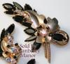 Juliana Black Rhinestone Brooch & Earrings D&E Delizza Elster Demi Parure Vintage Mid Century 1960s Designer Fashion Jewelry Gift