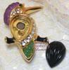 Kenneth J Lane KJL Rhinestone Magnetic Kingfisher Brooch for QVC Vintage 1990s Fashion Designer Jewelry Gift