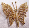 Monet Gold Filigree Butterfly Brooch Vintage 1970s Designer Fashion Jewelry Gift