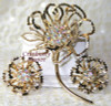 Sarah Coventry Allusion Crystal Rhinestone Brooch & Earrings Demi Parure Vintage Mid Century 1960s Designer Fashion Jewelry Gift