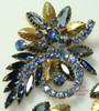 Schreiner Sapphire Blue Rhinestone Brooch & Earrings Vintage Mid Century 1960s Designer Fashion Jewelry Gift